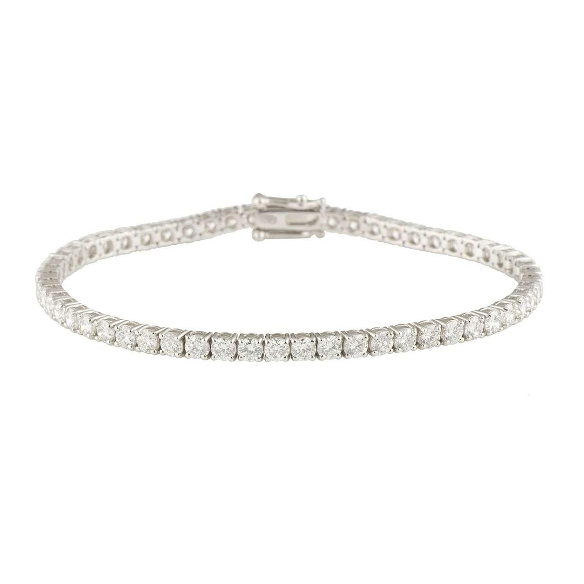 White Gold Diamond Line Bracelet 5.61ct